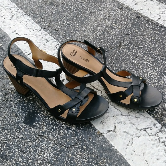 2098c87a446a Clarks Shoes - Clarks Leather Sandals Heels Banoy Valtina T Strap